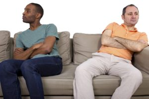 Interracial gay couple going through relationship problems