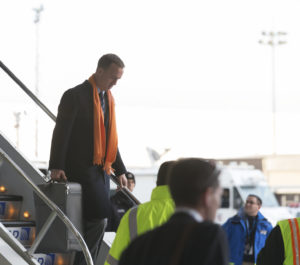 NEWARK, NJ - JANUARY 26, 2014: Denver Broncos' Peyton Manning arrives on United flight 1825 charter Boeing 767-400 plane at Newark Liberty International Airport for the NFL Super Bowl XLVIII football game