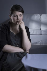 Young woman with major depression after bereavement